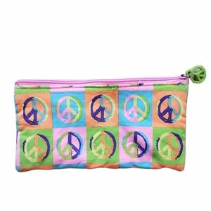 3/$20 Colorful Peace Sign Canvas Zipper Pouch